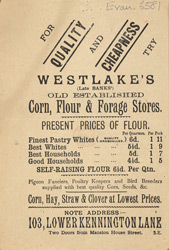 Advert for Westlake's corn, flour & forage store
